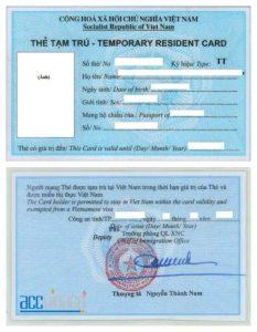 Thẻ tạm trú cho người nước ngoài, the tam tru cho nguoi nuoc ngoai